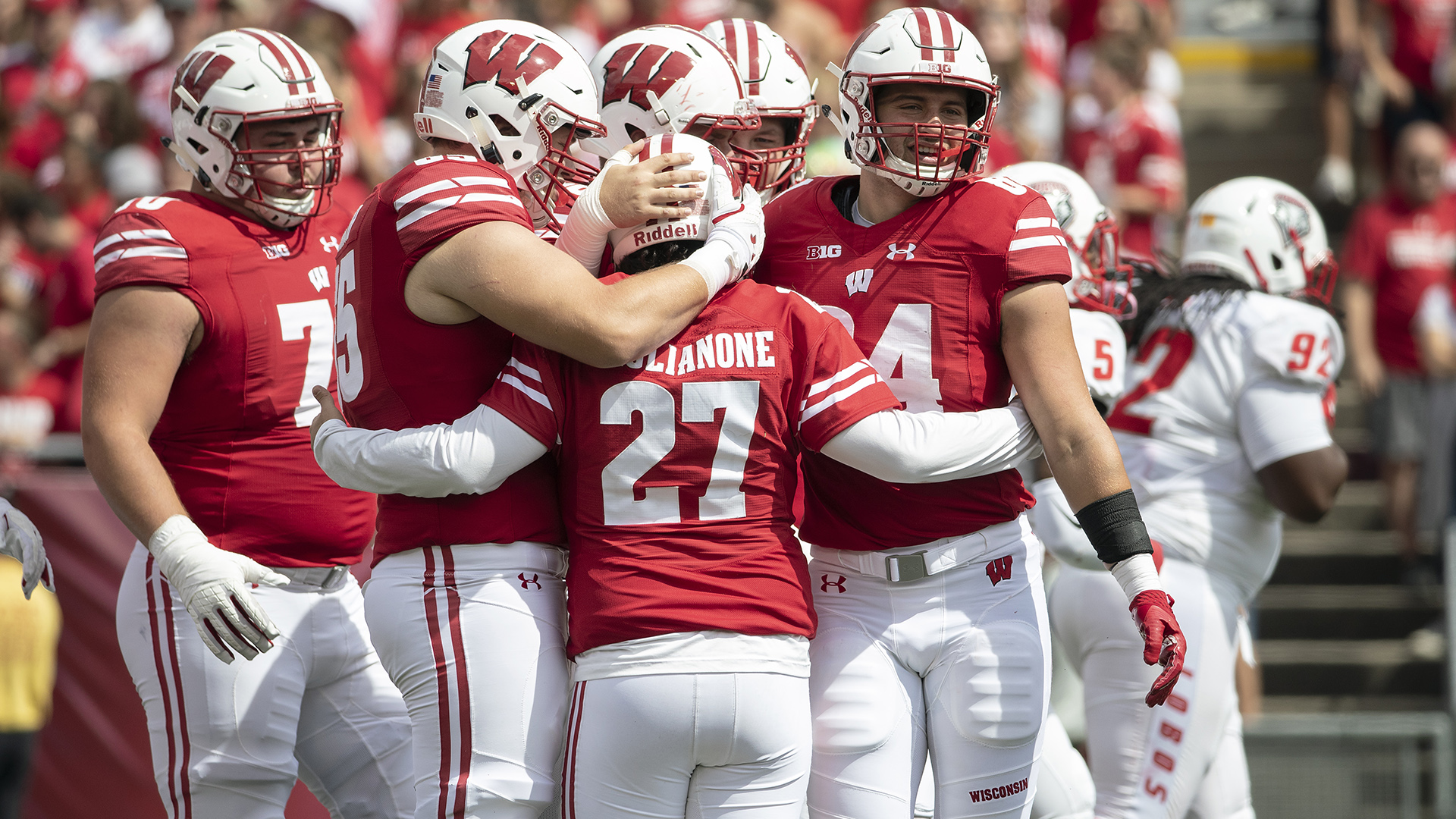 sneakers for cheap 9eb4d b36b2 Wisconsin Badgers kicker Rafael Gaglianone (27) celebrates with teammates  during an NCAA college football