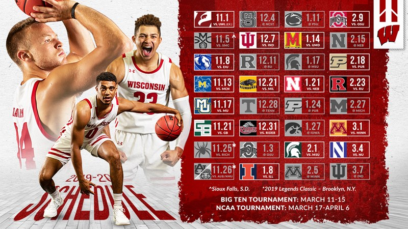 Wisconsin Basketball Announces 2019 20 Schedule Wisconsin